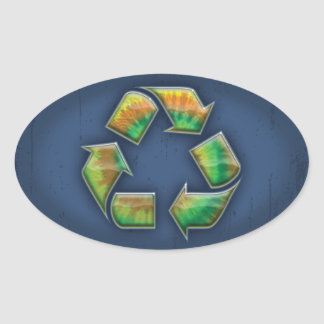 Recycle - Tie-Dye Oval Sticker