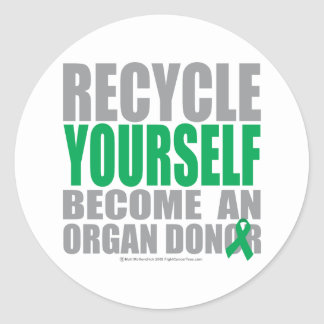 Recycle Yourself Organ Donor Round Stickers