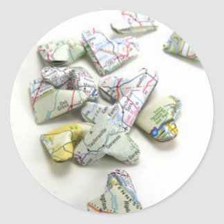 Recycled Atlas Origami Hearts Sticker