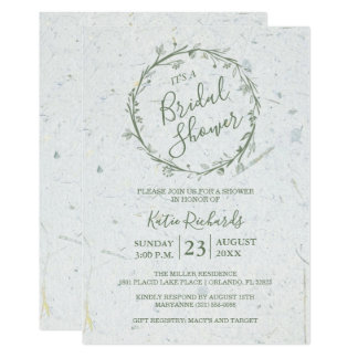 Recycled Green Floral Wreath Bridal Shower Party Card
