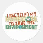 Recycled Homework Round Stickers
