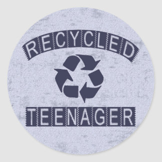 Recycled Teenager Round Sticker