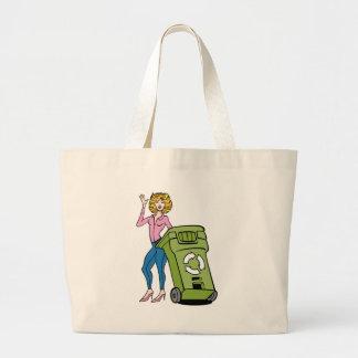 Recycling Bin Trashcan Woman Jumbo Tote Bag