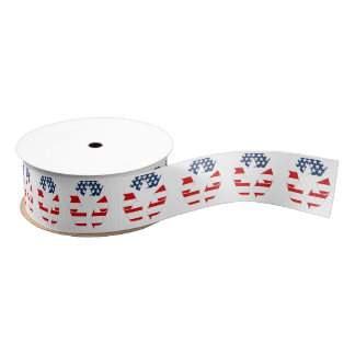 Recycling Symbol - Red White & Blue Grosgrain Ribbon