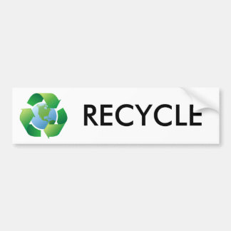 Recycling symbol surrounding planet earth bumper sticker