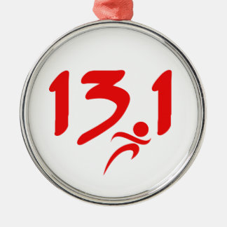 Red 13.1 half-marathon metal ornament