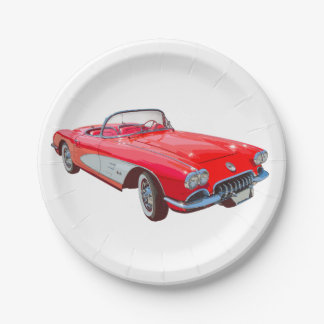 Red 1958 Corvette Convertible Classic Car Paper Plate