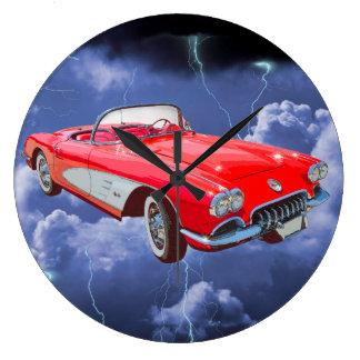 Red 1958 Corvette Convertible Wallclock