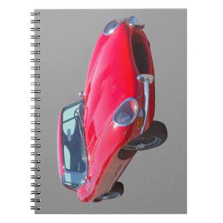 Red 1964 Jaguar XKE Antique Sports Car Spiral Notebook