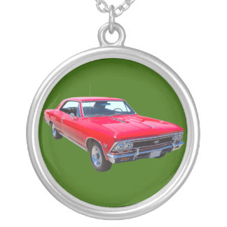 Red 1966 Chevy Chevelle SS 396 Silver Plated Necklace