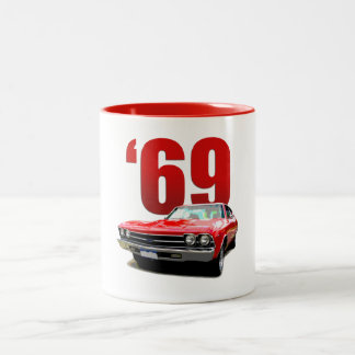 Red 1969 Chevelle coupe Two-Tone Coffee Mug