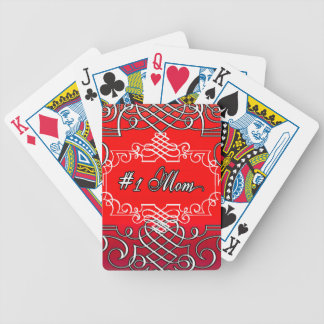 Red #1 MOM Mother's day typography gift Bicycle Playing Cards