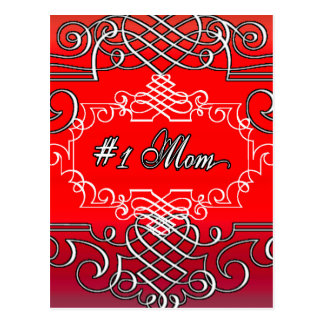 Red #1 MOM Mother's day typography gift Postcard