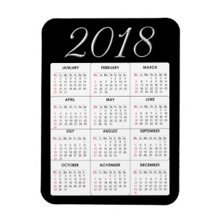 Red 2018 Calendar Magnet