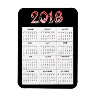 Red 2018 Calendar Magnet