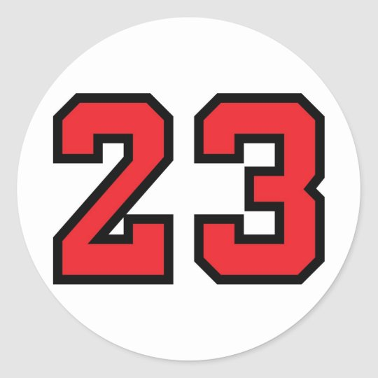Red 23 classic round sticker