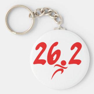 Red 26.2 marathon basic round button keychain