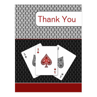 red 3 aces vegas wedding Thank You cards Postcard