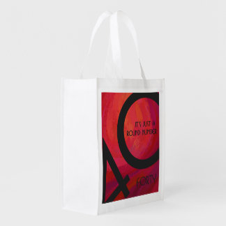 Red 40 Decade Birthday Reusable Grocery Bags