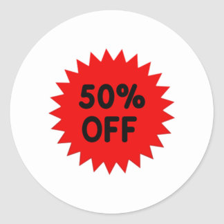 Red 50 Percent Off Classic Round Sticker