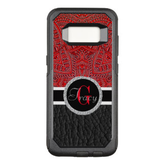 Red abstract and black leather bottom Monogram OtterBox Commuter Samsung Galaxy S8 Case