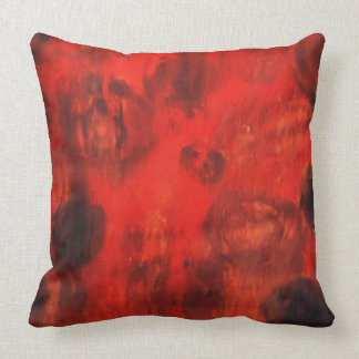 Red abstract art throw pillow