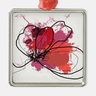 Red Abstract Brush Splash Flower .JPEG Silver-Colored Square Ornament