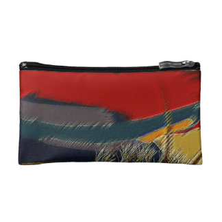 red abstract cosmetic bag