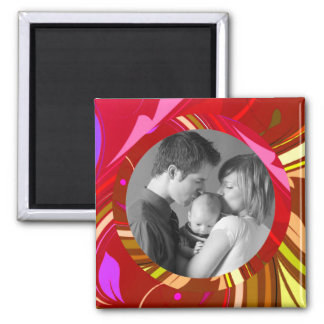 Red Abstract/Custom Photo Square Magnet