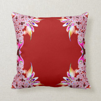 Red Abstract Feathery Throw Pillow
