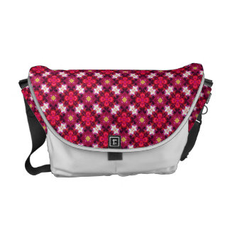 Red Abstract Floral Pattern Courier Bag