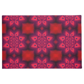Red Abstract Floral Pattern Doormat