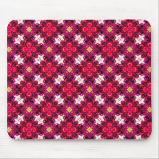 Red Abstract Floral Pattern Mouse Pad