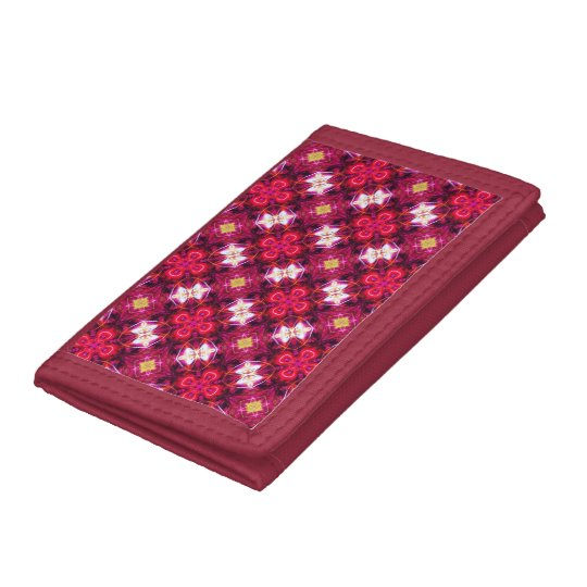 Red Abstract Floral Pattern Tri-fold Wallet
