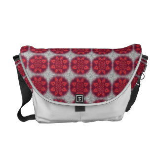 Red Abstract Flower Pattern Messenger Bags