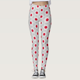 Red Abstract Geometric Pattern Leggings