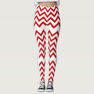 Red abstract jingle bells leggings