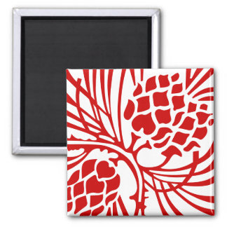 Red Abstract Square Magnet