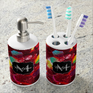 Red abstract mosaic shiny glitter pattern Monogram Soap Dispenser And Toothbrush Holder
