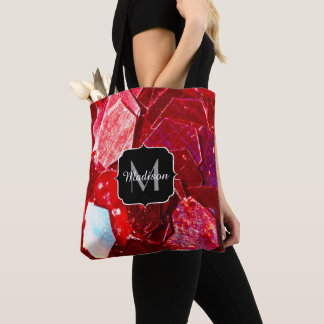 Red abstract mosaic shiny glitter pattern Monogram Tote Bag