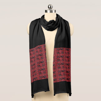 Red Abstract Multi-Print Jersey Scarf