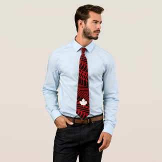 Red abstract on Black with White Canadian Maple Tie