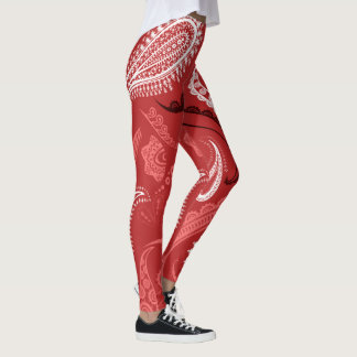 Red Abstract Pattern Leggings