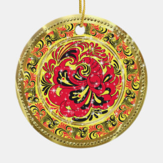 Red Abstract Phoenix Bird-Gold & Sparkles Ceramic Ornament