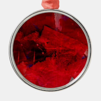 Red Abstract Silver-Colored Round Ornament