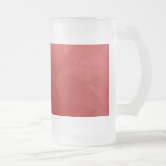 Red abstract triangles 16 oz frosted glass beer mug