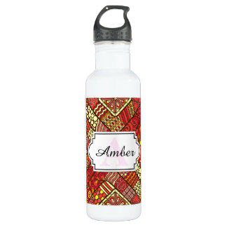 Red abstract tribal aztec pattern 710 ml water bottle