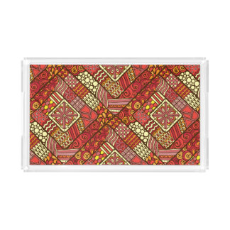 Red abstract tribal aztec pattern acrylic tray