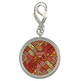 Red abstract tribal aztec pattern charm