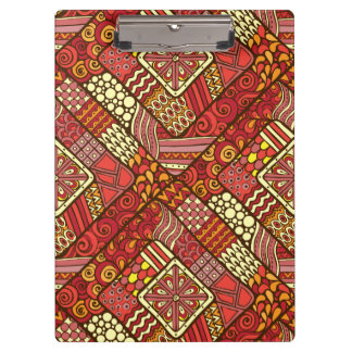 Red abstract tribal aztec pattern clipboard